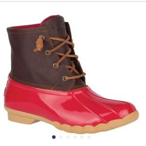 Sperry red duck boots